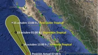 La tormenta tropical Norbert que se acerca a las costas de Baja California.