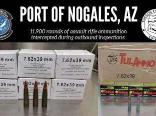 Los oficiales aseguraron las municiones en las líneas de salida de Estados Unidos hacia México.