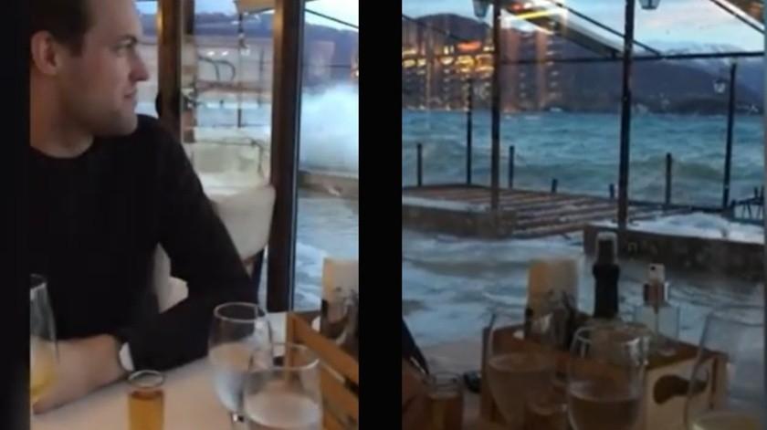 VIDEO: Cena romántica termina mal; restaurante se inunda