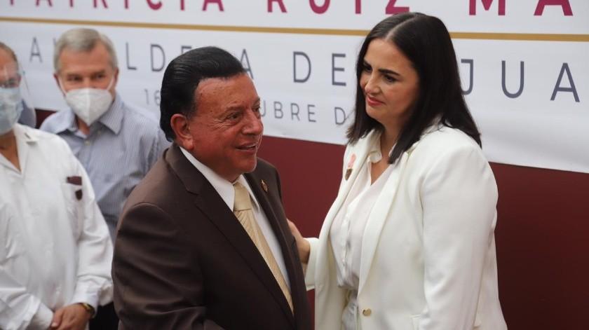 La toma de protesta de Karla Ruiz MacFarland como alcaldesa de Tijuana, se realizó en la explanada de Palacio Municipal.(Sergio Ortiz)