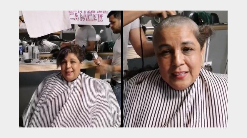 """""""A rape"""" pide el cabello, solidaria con quienes sufren cáncer de mama(Captura de video)"""
