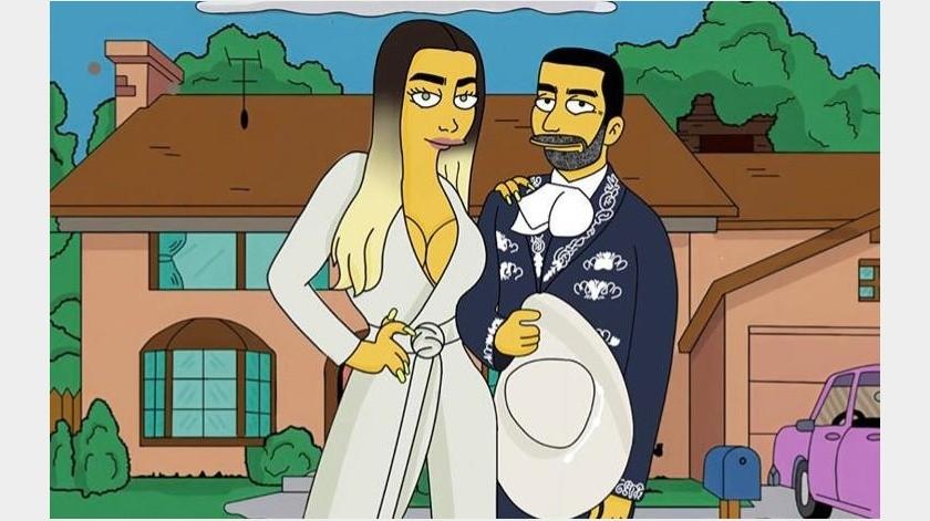 Vicente Fernández Jr y su novia se van al mundo de Los Simpsons(Internet)
