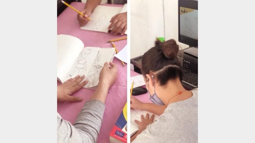 El Taller de Dibujo se imparte a la población del Centro de Internamiento para Adolescentes de Tijuana.(Cortesía)