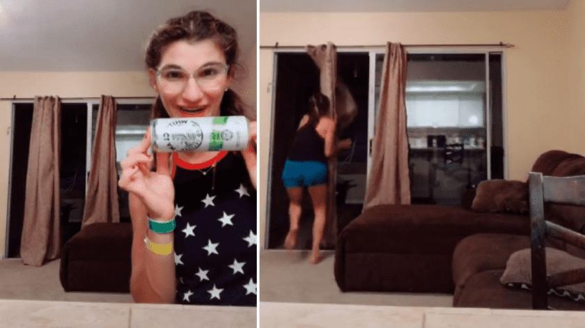 Aparece algo extraño en su cortina mientras graba un vídeo para Tik Tok(Tomada de la red)