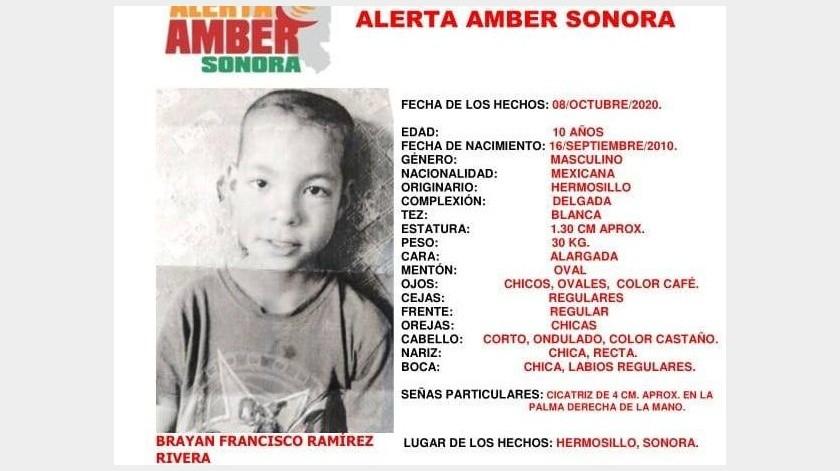 Se activa Alerta Amber para encontrar a Brayan Francisco; desapareció en Hermosillo(Alerta Amber Sonora)
