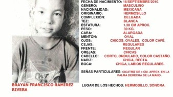 Imagen difundida por la Alerta Ámber para apoyar en la localización del pequeño Brayan Francisco.