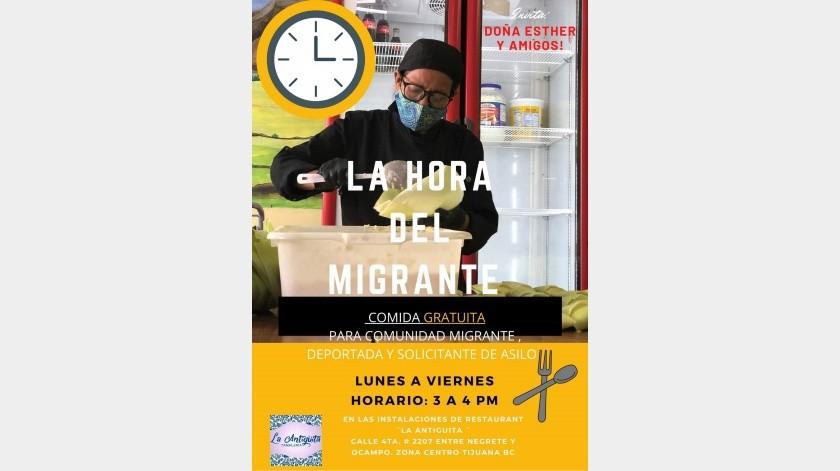 Restaurante La Antigüita dará comidas gratis a migrantes.(Cortesía Facebook)