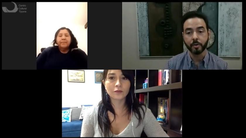Mónica Gonzales Portillo, activista cucapá, Oswaldo Cuadra y la investigadora Berenice Morales Aguilar participaron en videoconferencia organizada por el Cecut.(Cortesía)