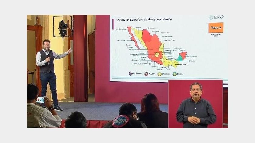 Semáforo Covid: Sonora en amarillo y BC en naranja; 3 estados en riesgo de alerta máxima(Captura de video)