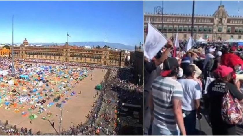 """Miles de simpatizantes de AMLO llegan al Zócalo tras """"La Marcha del millón""""(Especial)"""