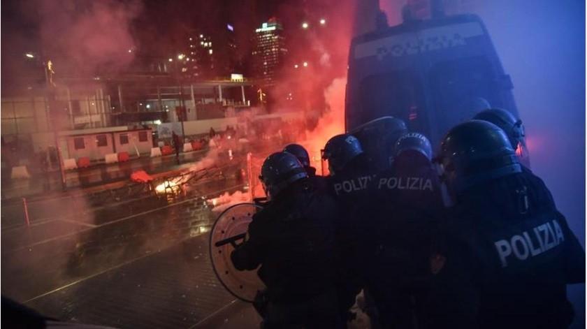 Destrozos y protestas en Italia por cierre ante Covid-19(EFE)