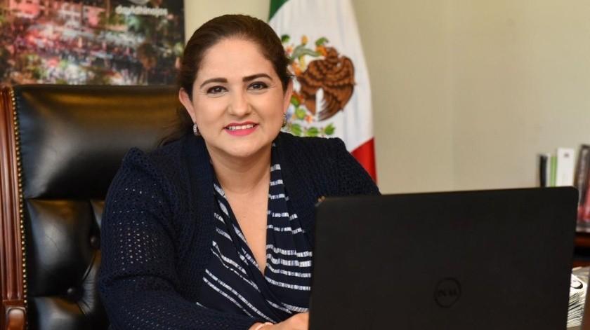 La alcaldesa Céida López Cárdenas en la reunión con los alcaldes fronterizos de México y Estados Unidos.(EL IMPARCIAL)