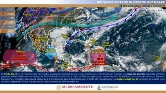 Para la Península de Baja California se prevé cielo parcialmente nublado, ambiente caluroso y viento del noroeste de 20 a 30 km/h.