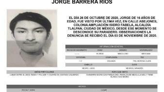 La FGJ informó en redes sociales que desde el 03 de noviembre, fecha en que se reportó la desaparición de Jorge Barrera Ríos, comenzaron las labores para dar con su paradero.