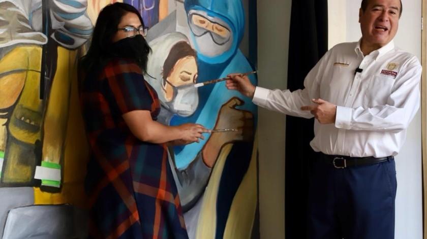 El mural de la artista Ariana Escudero, se encuentra al interior del Palacio Municipal.(Sergio Ortiz)
