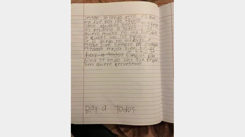 El menor dejó una nota.(Cortesía Facebook)