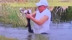 Un adulto mayor salvó a su cachorro de un cocodrilo