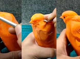 Hizo la escultura de un ave usando una zanahoria, se volvió viral