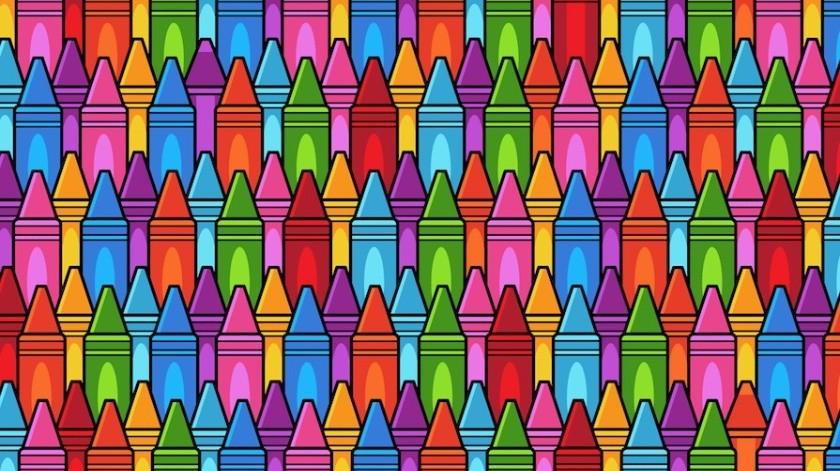 Reto Visual: Encuentra 3 colores de madera entre las crayolas(Tomada de la red)