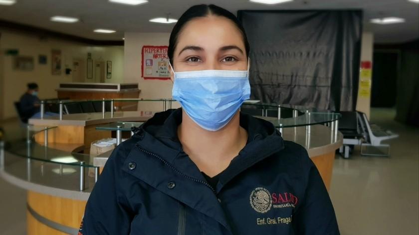 Joanna Verenice Fraga Zazueta, originaria de Mexicali, trabaja en el Hospital General de Tijuana.(Cortesía)