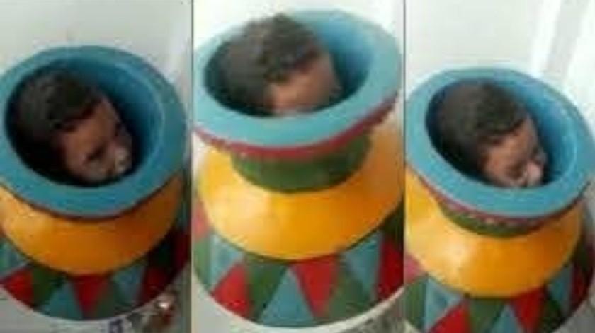 Niño queda atrapado en un jarrón(Tomada de la red)