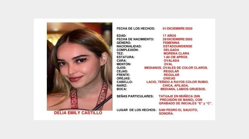 Activan Alerta Ámber y Alba por Delia Emily, menor desaparecida en Hermosillo
