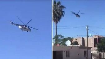 Avistan helicóptero de la Guardia Nacional sobrevolando en Pueblo Kino