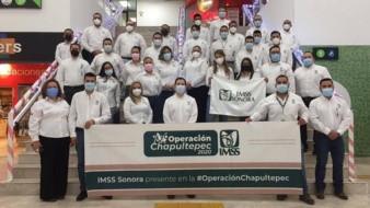 Un grupo de 44 empleados de salud del Instituto Mexicano del Seguro Social (IMSS) de Sonora, partieron rumbo a la Ciudad de México para apoyar en la lucha contra el Covid en la Operación Chapultepec