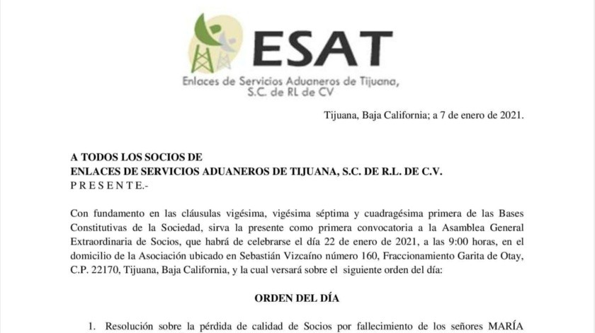 Convocatoria de Enlaces de Servicios Aduaneros de Tijuana
