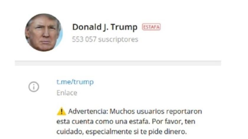 Telegram marca como 'estafa' el canal 'Donald J. Trump'(Telegram / Donald J. Trump)