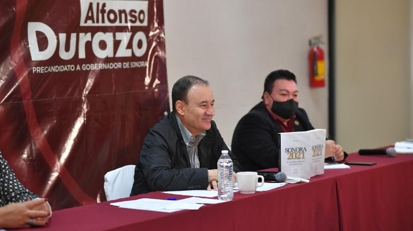 Alfonso Durazo Montaño, precandidato de Morena al Gobierno del Estado, estuvo ayer en Guaymas(BANCO DIGITAL)