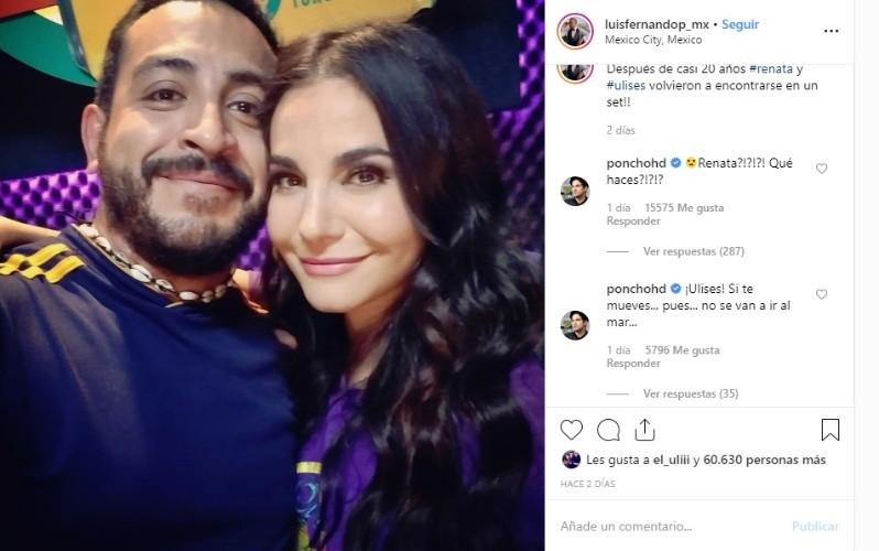 La instantánea, en la que la pareja posó abrazada y sonriente, fue comentada por Poncho Herrera, quien en la cinta interpretó a Francisco, pretendiente de Renata quien finalmente impidió que ella pudiera ser feliz con Ulises.