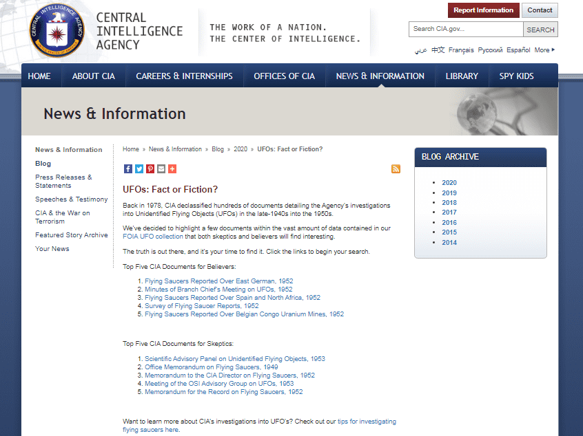 CIA filtra archivos secretos ¡sobre Ovnis!