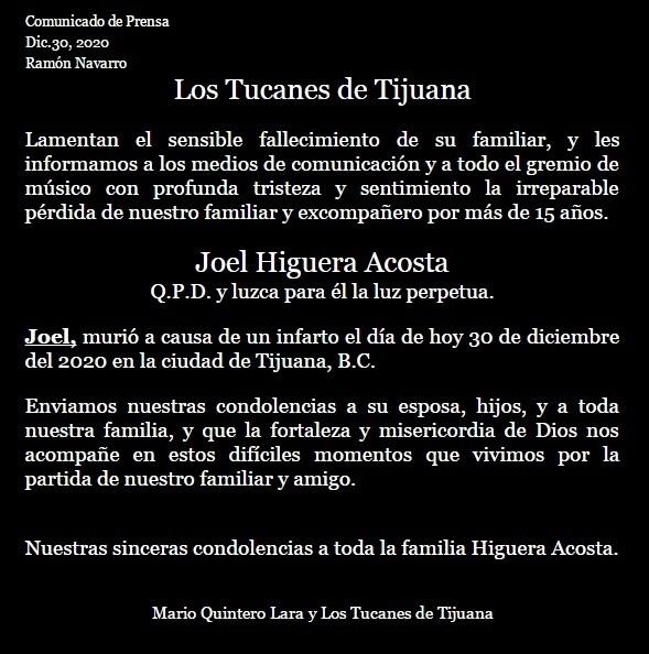 Tucanes de Tijuana, de luto: muere Joel Higuera 2